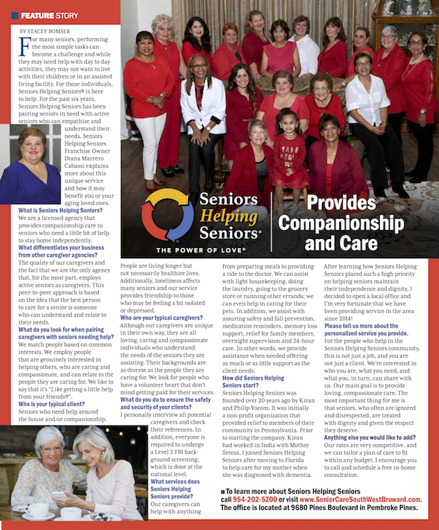 City of Davie Magazine connects communities. Seniors Helping Seniors provides companionship and care to the surrounding communities.