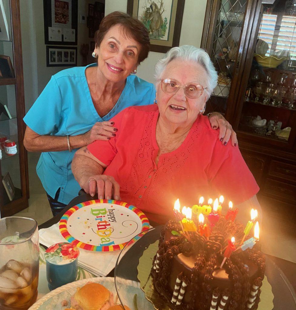 Joanne and Linda celebrating a birthday